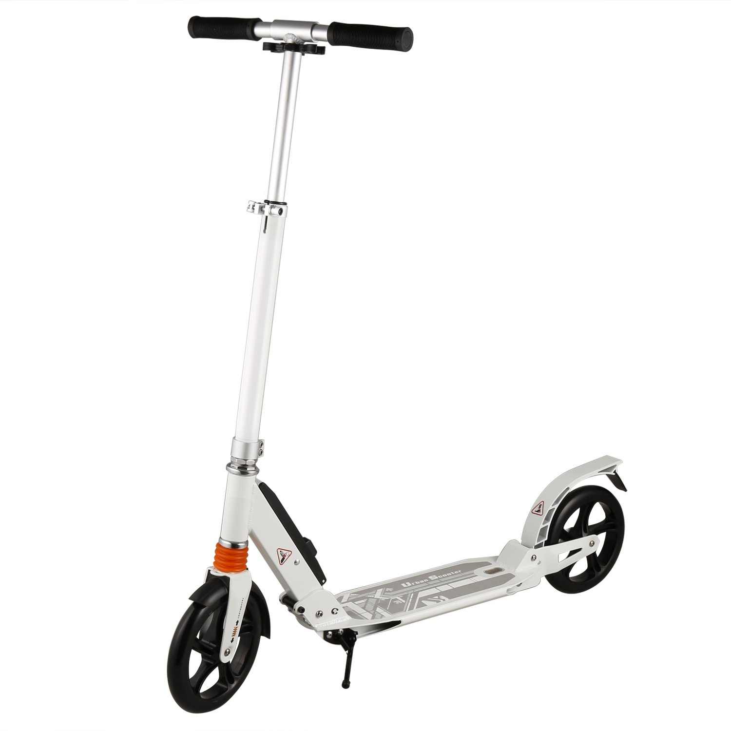 Adult City Commuter Scooter Folding Kick Scooter with 2 Large 200mm Wheels and Dual Spring Comfort Suspension 3 Levels Adjustable Height Strong Aluminum Frame Design for Teens Kids 10+