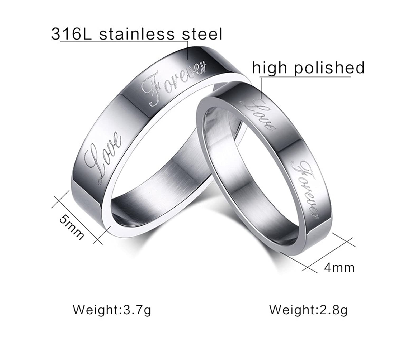 9ea65452ba Suohuan Jewelry His & Her Stainless Steel Forever Love Engraved Couple  Matching Rings Band Set for Engagement Promise Wedding Valentine's Day Gift  Silver