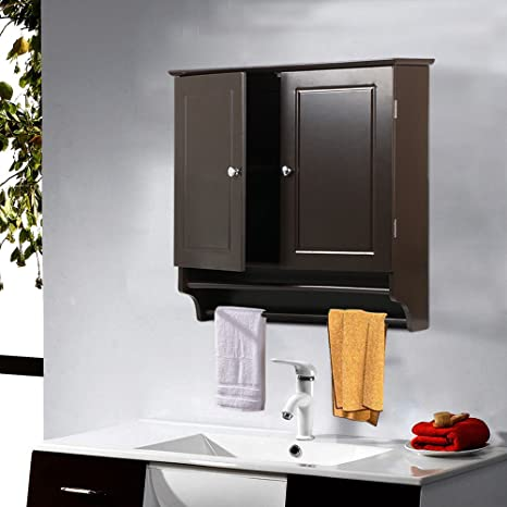 6d52ee1445a4 Espresso Wall Mount Bathroom Cabinet Laundry Kitchen Organizer 2 Doors