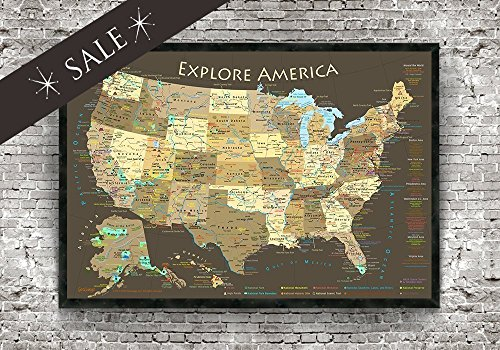 Explore America USA Map with National Parks, Historical Cities, USA Peaks & Highest Elevations Map, RV Travel Map - Espresso Framed Map - Small Edition - SALE price - $25 - Review Usa Price