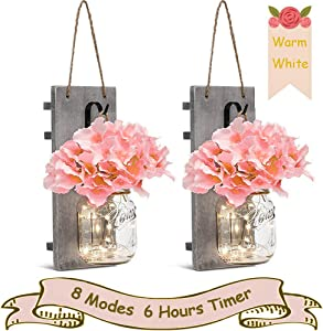 SunKite Mason Jar Sconce Rustic Home Wall Decor with 20 LED String Lights (8 Lighting Modes) - Handmade Hanging Mason Jar with Flowers Wrought Iron Hooks(Set of 2) (Warm White)
