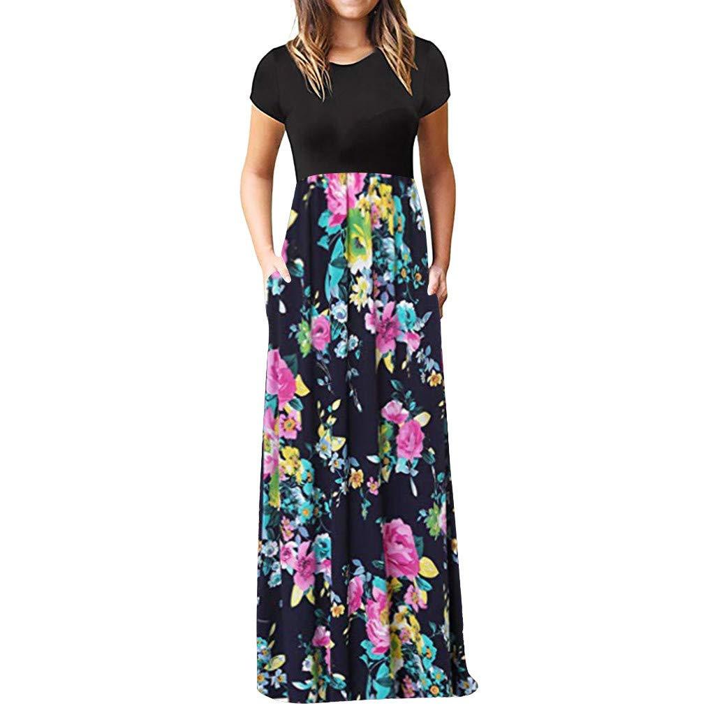 HunYUN Women's Short Sleeve Racerback Loose Floral Print Tank Long Maxi Summer Slim fit Dresses
