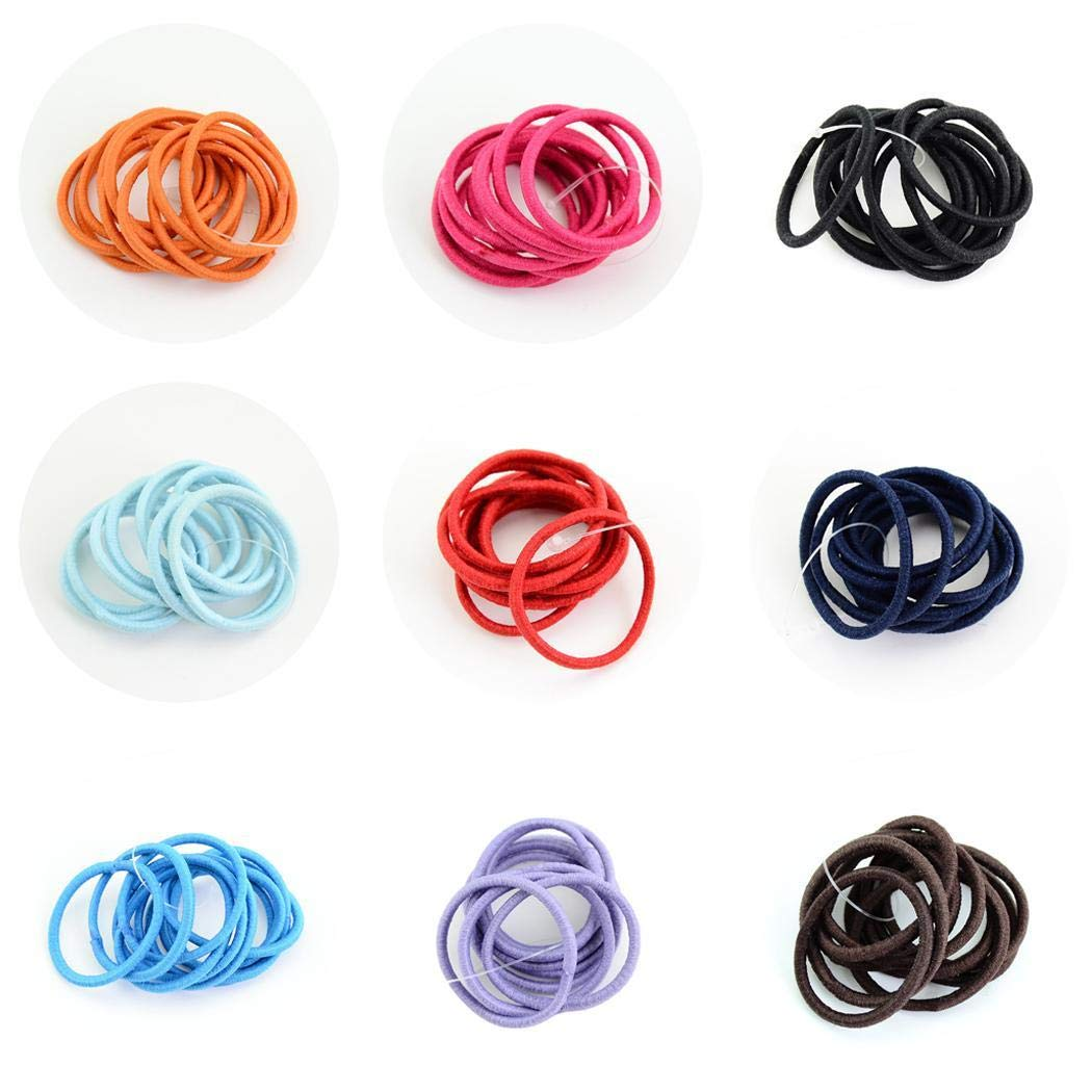 GuGio 100 PCS Baby Girls Hair Ties for Ponytail - Stretchy Elastic Hair Ropes Rubber Bands Styling Accessories for Toddlers Kids Teens Adults