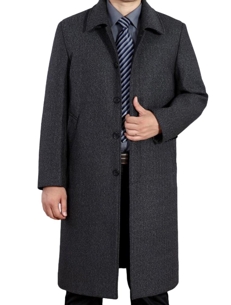 Mordenmiss Men's Wool Single Breasted Winter Trench Jacket Woolen Pea Coat LG158