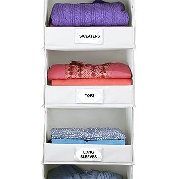 g.u.s. Deluxe 4-Shelf para colgar en el armario organizador con tapa frontal plegable - fabricada con extra resistente cable de junta para guardar jerséis, ...