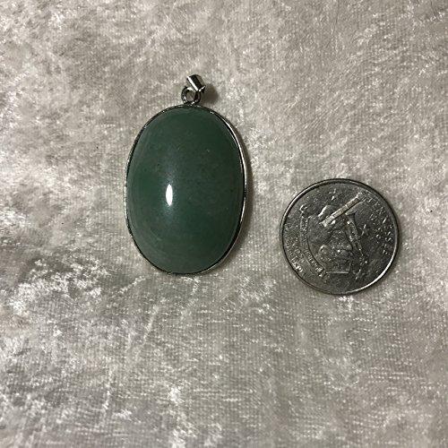 natural green aventurine gemstone oval cabochon pendant