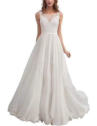 Chiffon Brautkleid | Aurora Dresses Damen Chiffon Hochzeitskleider Brautkleider Spitze