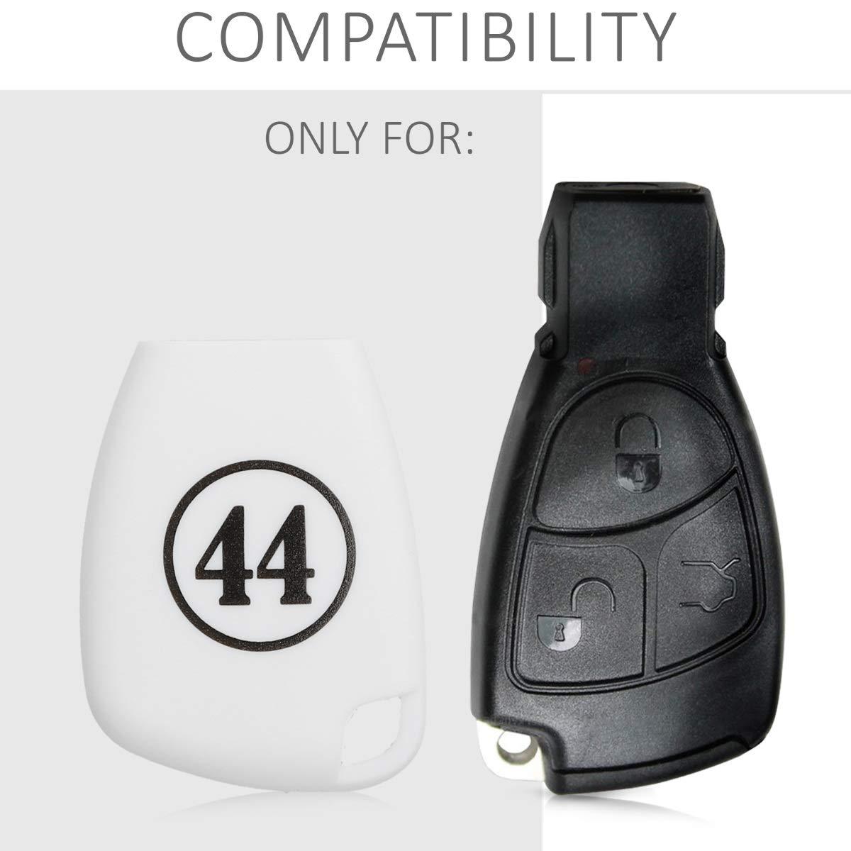 kwmobile Accessoire cl/é de Voiture pour Mercedes Benz /Étui de Protection Souple Coque pour Clef de Voiture Mercedes Benz 2-3-Bouton en Silicone Noir-Blanc-Blanc