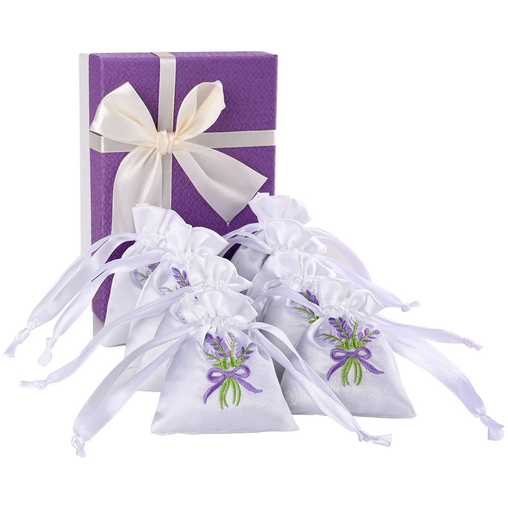 8-Pack 100% Natural Lavender Scented Sachets with Gift Box for Air Purifying, Moth Repellent, Stress Relief, Best Gift for birthday, wedding, Valentine's, Mother's day, Thanksgiving, Christmas