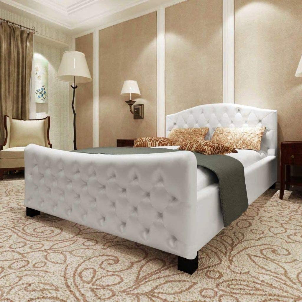 YiYueTrade Cadre de lit Blanc Similicuir 180 x 200 cm
