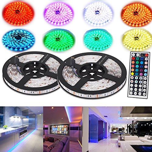 4EverShine Waterproof Led Strip Lighting 10 Meters 32.8 Feet 5050 RGB 300LEDs Flexible Color Changing Full Kit with 44 Keys IR Remote Controller 12V Power Supply Decorative for any occasion (Track Cabinet Lighting)