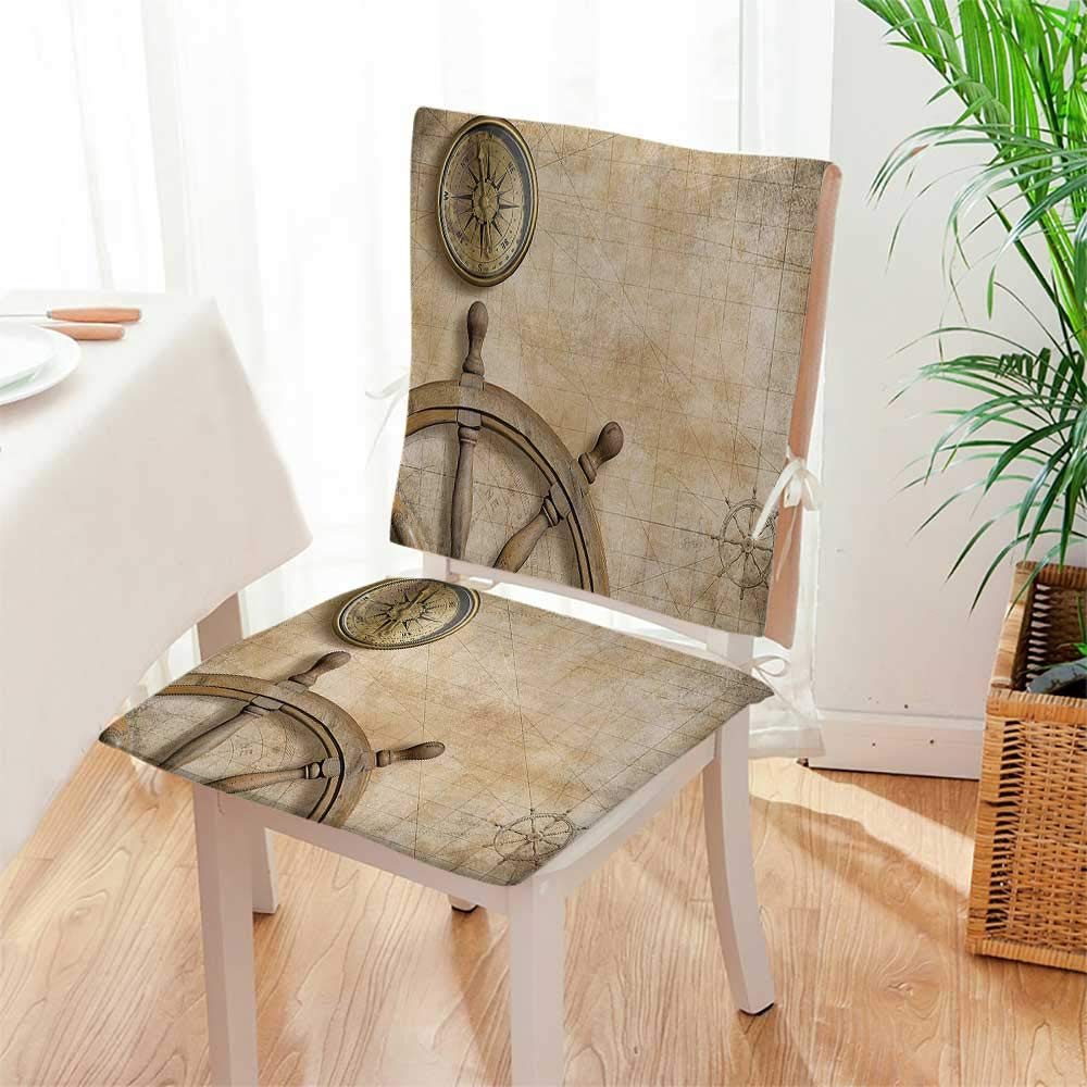 Mikihome Beautiful Chair Cushion Steering Wheel and with Map Setting Captain Indoor and Outdoor Cushion Mat:W17 x H17/Backrest:W17 x H36