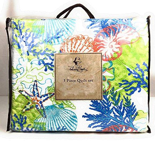 Panama Jack 3 Piece King Quilt Set Sea Harvest Memories Vivid Multi Colored Blue Green Coral Starfish Sea Shells on White