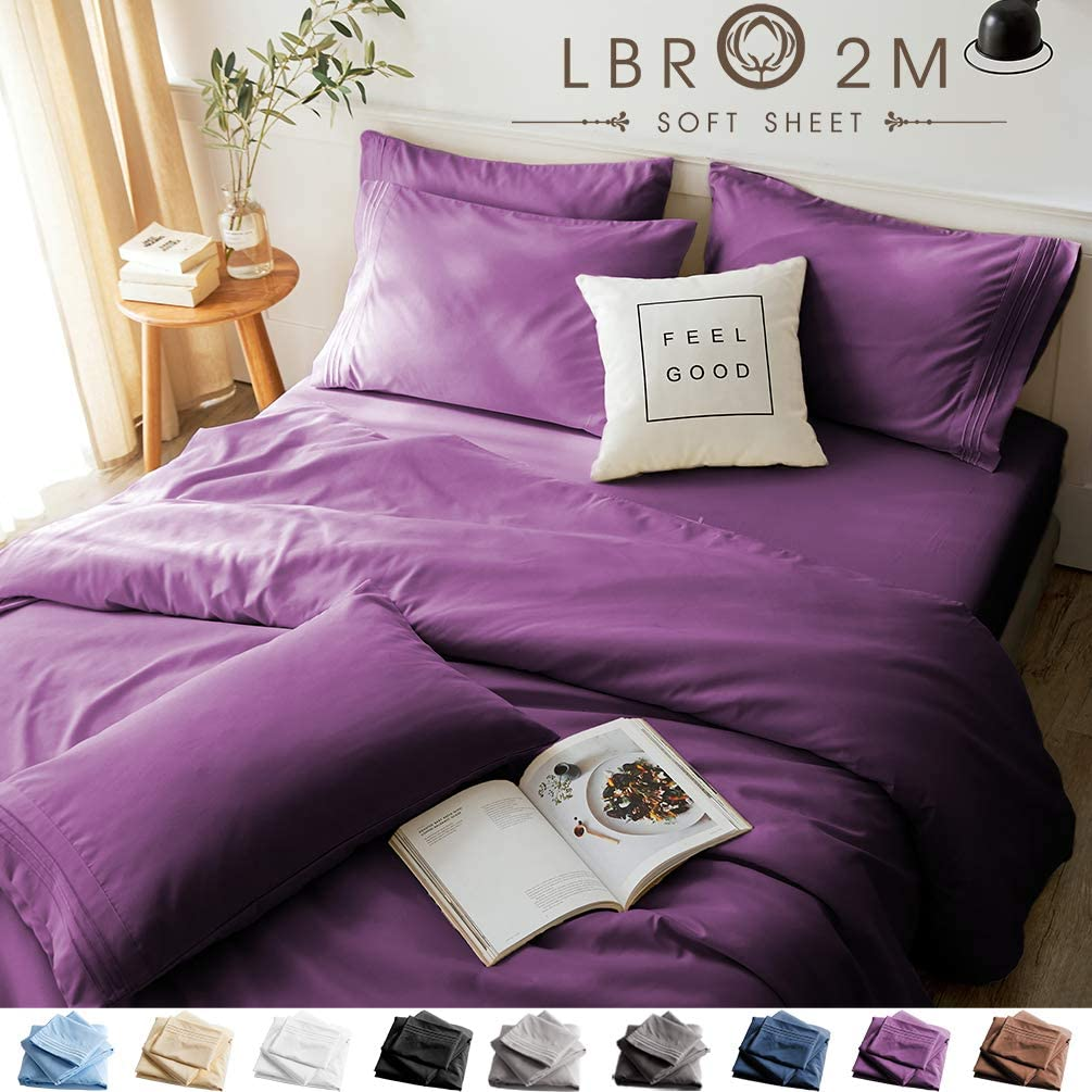 LBRO2M Bed Sheets Set Queen Size 6 Piece 16 Inches Deep Pocket 1800 Thread Count 100% Microfiber Sheet,Bedding Super Soft Hypoallergenic Breathable,Resistant Fade Wrinkle Cool Warm (Purple)