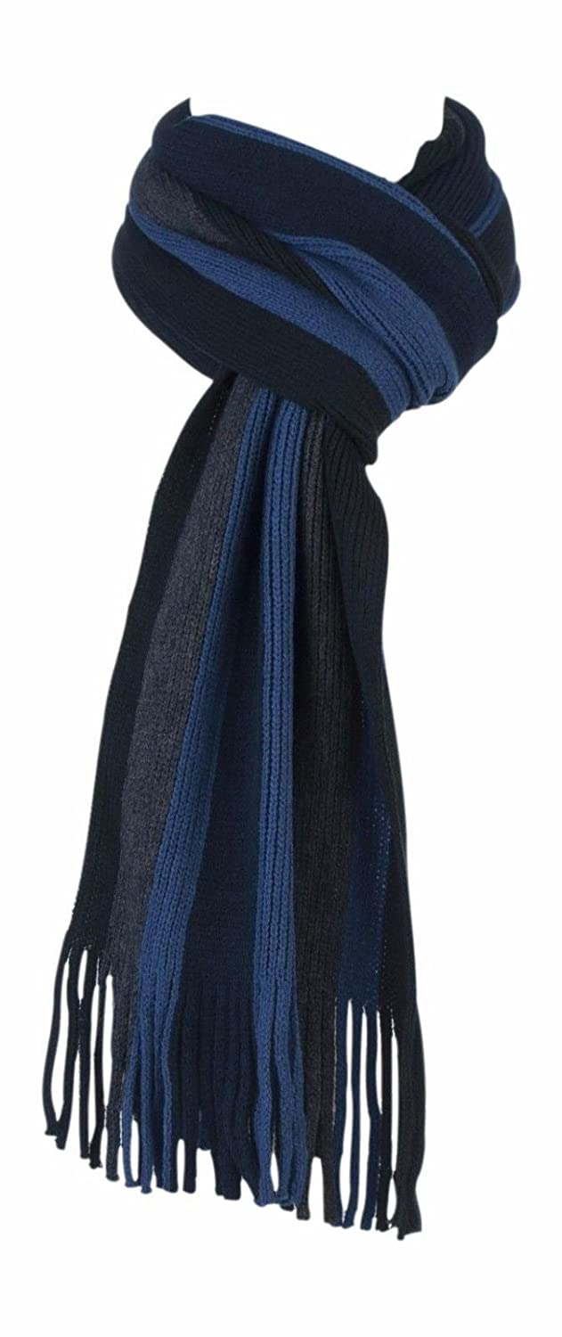 1 no. Mens Luxury Soft Winter Warm Striped Scarf - Blue / Grey Mix 03