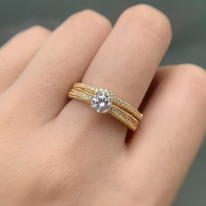 Wuziwen 14k Yellow Gold Plated Sterling Silver Cubic Zirconia Cz Engagement Ring Wedding Set