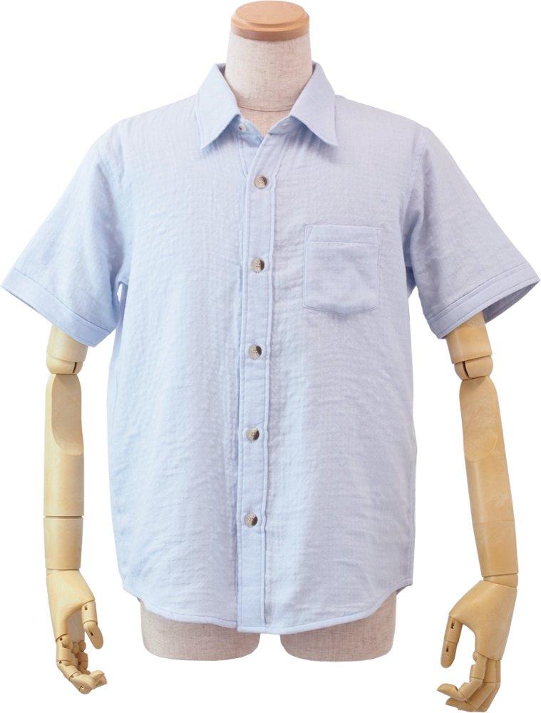 (内野)UCHINO (ウチノ) マシュマロガーゼ メンズ 半袖 シャツ ルームウェア B06XS43XC3 M|ブルー ブルー M