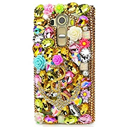ZTE Grand X MAX 2 Case, ZTE Zmax Pro Case, STENES 3D Handmade Luxury Crystal Rose Flowers Big Anchors Sparkle Rhinestone Design Cover Bling Case with Retro Bows Dust Plug - Gold