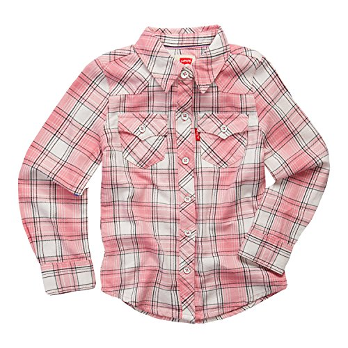 Levi's Girls' Toddler Long Sleeve Button Up Shirt, Candy Pink, 2T (Pink Plaid Western Shirt)