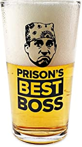 Prison Mike Beer Glass – The Office Merchandise – Memorabilia Inspired by The Office – Holds 16 Ounces