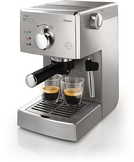 Saeco Manuelle Poemia Focus - Cafetera espresso manual, color plata