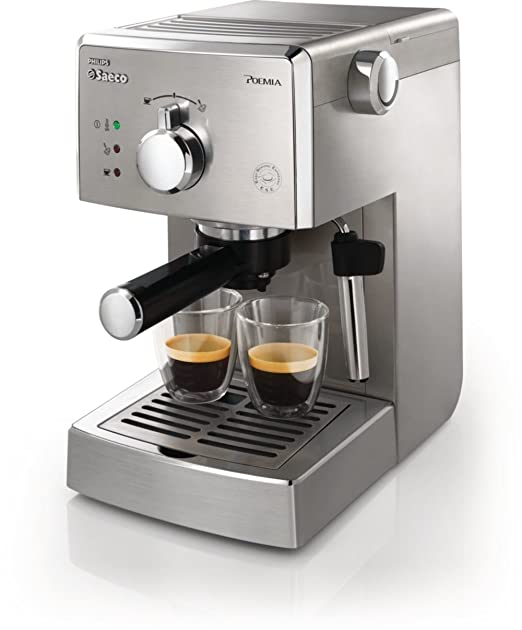 Saeco Manuelle Poemia Focus - Cafetera espresso manual, color plata