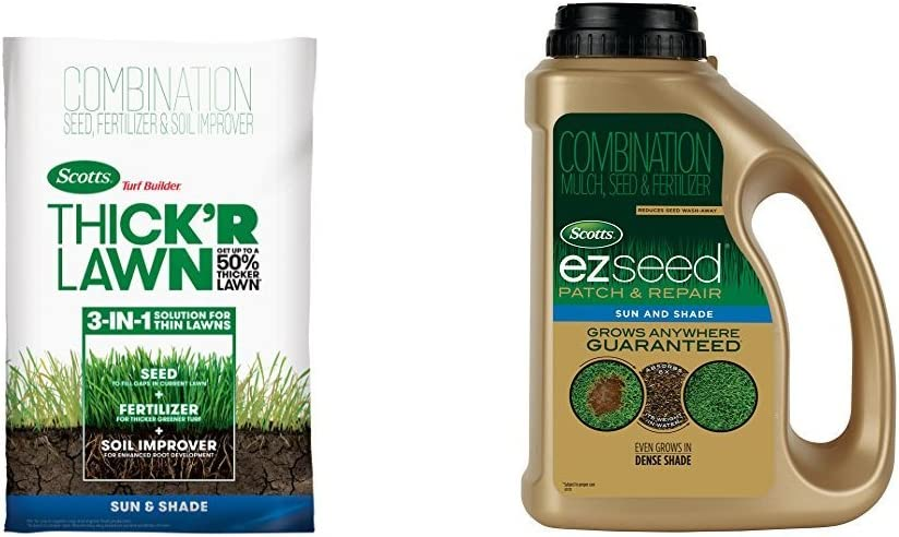 Scotts 30158 Turf Builder Thick'R Lawn 40 lb. + EZ Seed Patch & Repair Sun & Shade 3.75 lb