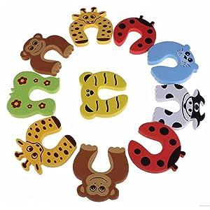 10PCS Tope Clip Protector Puerta Dedos Seguridad de Espuma para Las Manos con Formas de Animales de Dibujos Animados para Niños Bebés