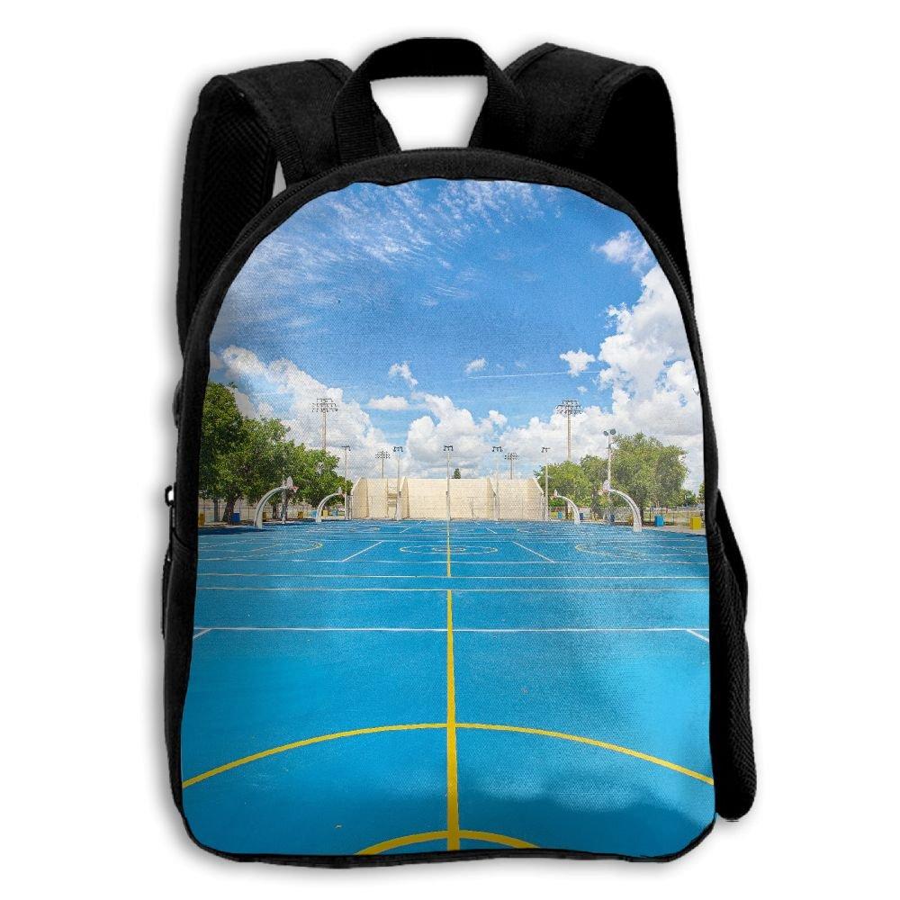 YEWEI バスケットボールコート 男女兼用 3Dプリント ワイドジッパー 学校用トラベルバッグ ショルダーバッグ 子供用バックパック   B07G83VTNQ
