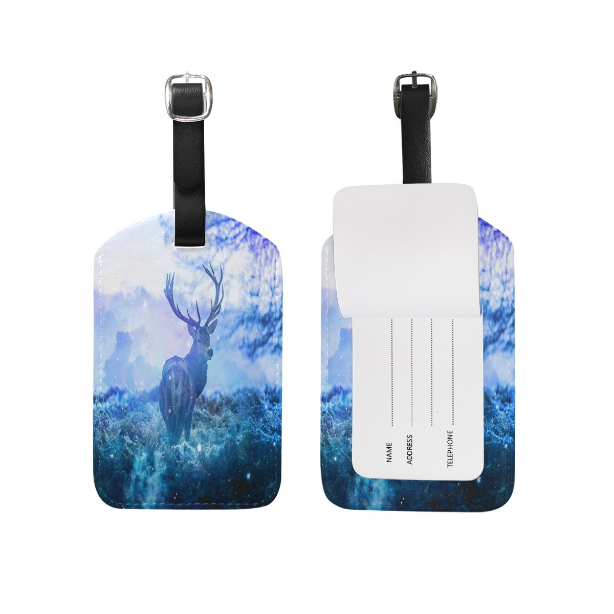 Saobao Travel Luggage Tag Blue Elk PU Leather Baggage Suitcase Travel ID Bag Tag 1Pcs