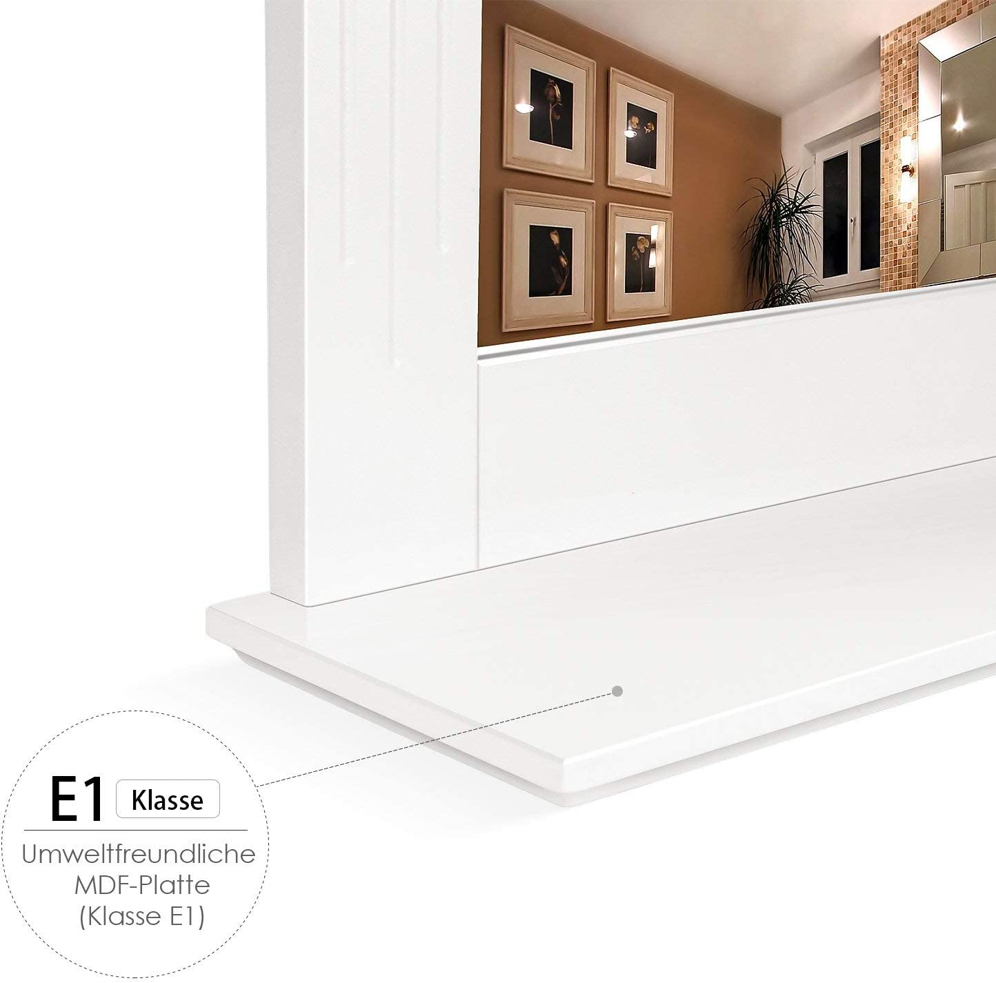 HOMFA 50x60cm Wandspiegel Badspiegel mit Ablage H/ängespigel Spiegel f/ür Badezimmer Wohnzimmer Flur Holz 50x12x60cm