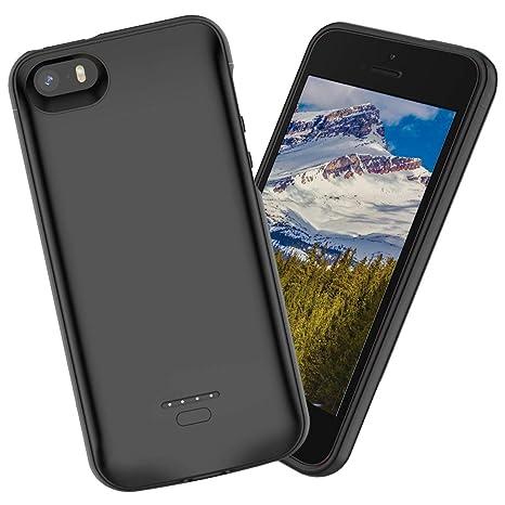 iPhone SE 5SE 5 5S Akku Hülle Batterie,4000mAh hohe Kapazität Lithium-Polymer Externer wiederaufladbar mit ständer halter LED