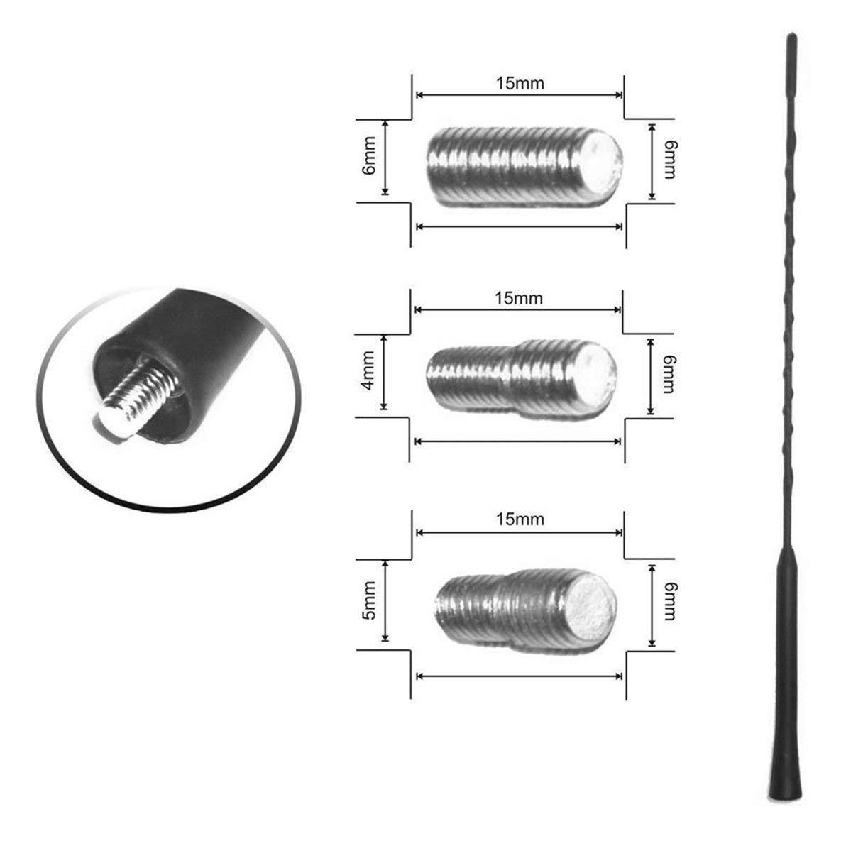 Noradtjcca Antenne Universelle dantenne de Voiture de 16 Pouces AM//FM Toit Automatique antenne Flexible de m/ât en Spirale Anti-Bruit r/ésistant aux intemp/éries
