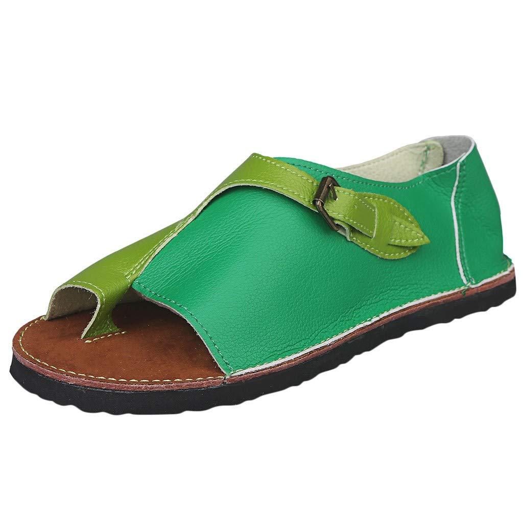 Women's Retro Roman Slides Sandals Comfy Espadrille Slide-on Open Toe Faux Leather Ankle Buckle Summer Flat Sandals by SSYUNO