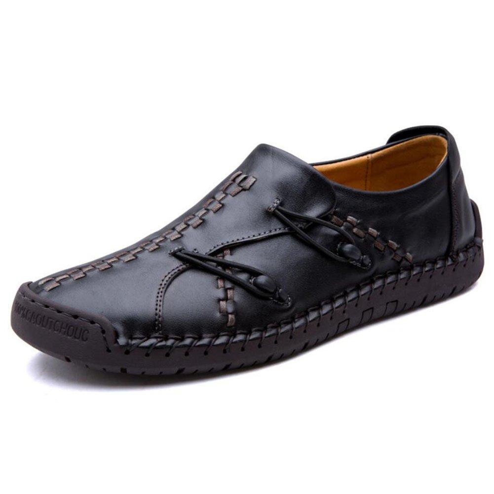 Men's Loafers & Slip-Ons Herren Vier Jahreszeiten Geschäft Casual Schuhe Herren Leder Handgenähtes Soft-Soled Schuhe Outdoor/Travel Driving Schuhes (Farbe : Schwarz, Größe : 43)