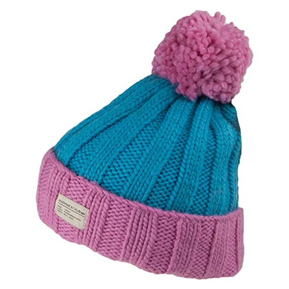 cff0be45 Kusan Hats Ribbed Turn Up Bobble Hat - Pink-Blue 1-Size: Amazon.co ...