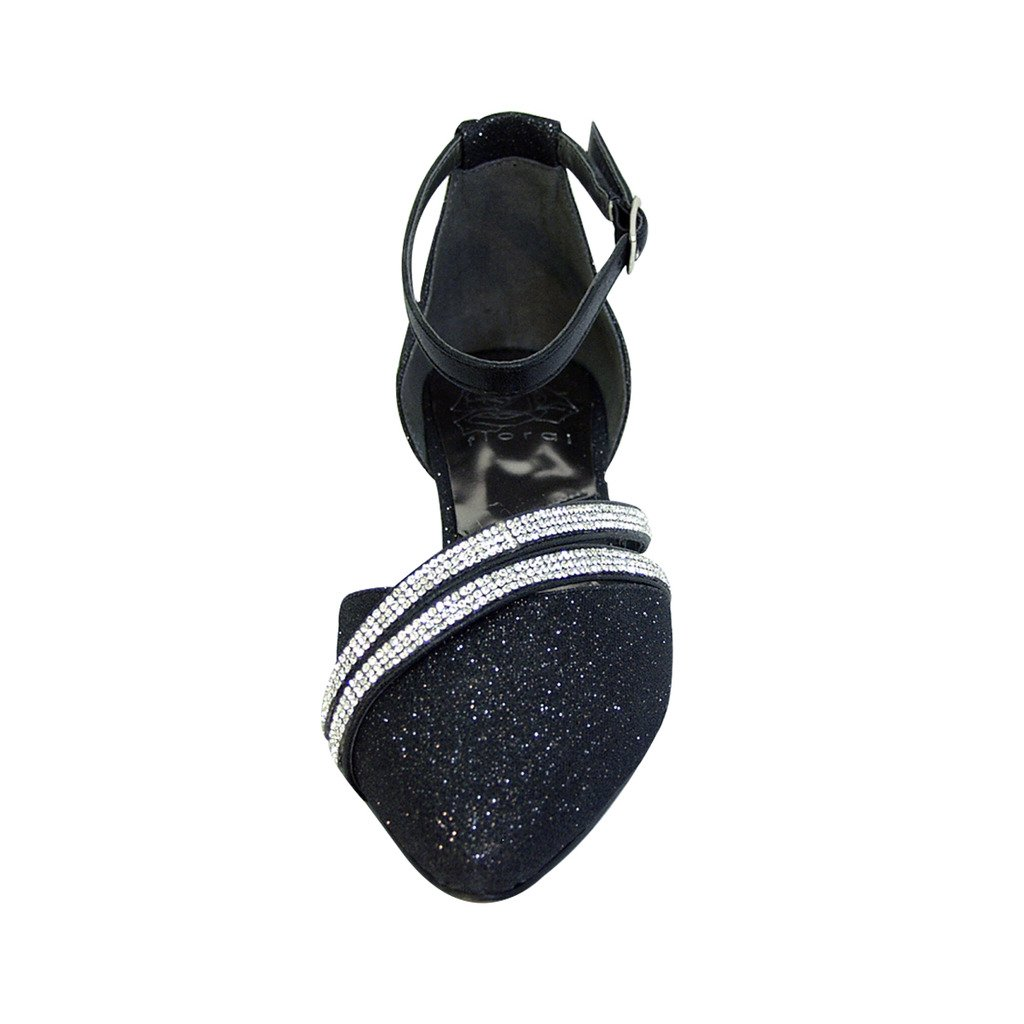 Fuzzy FIC Hallie Women Wide Width Pointed Toe Ankle Strap Dress Flats (Size/Measurement Guide Available) B01LXES6ZZ 10 E Black