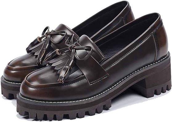 Zapatos de Plataforma de Mujer Borla de Moda Bowknot Slip de Color ...