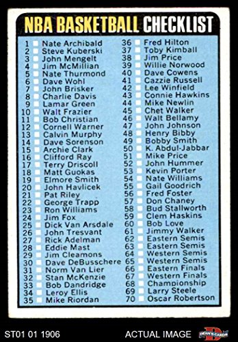 1973 Topps Card (1973 Topps # 121 Checklist (Basketball Card) Dean's Cards 5 - EX)