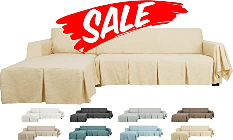 Linen Effect Large Sofa Cover 3 Seater Couch Home Office Slipcover Protector