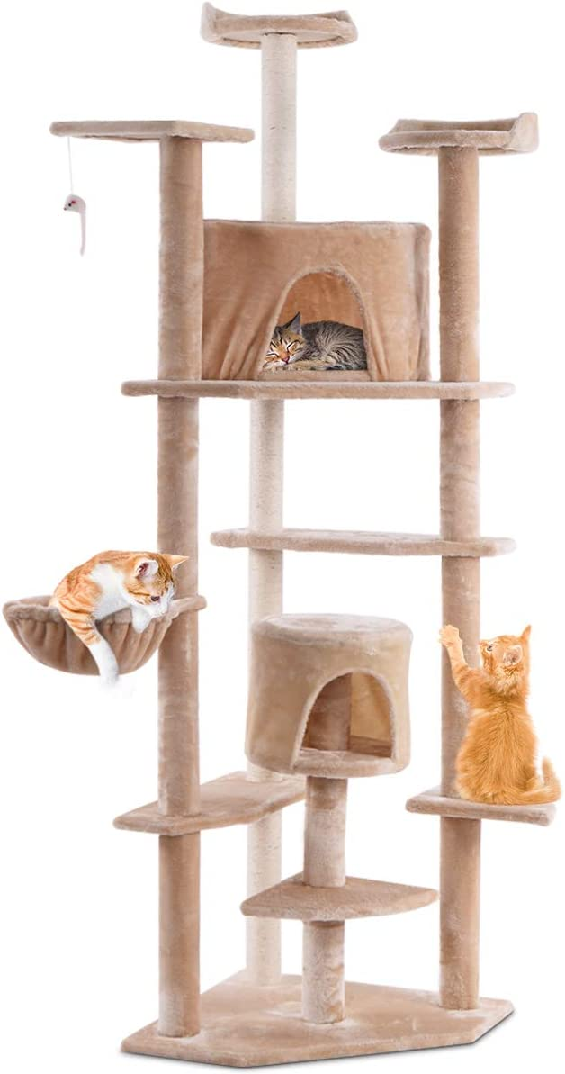 PETSJOY Cat Tree Condo with Scratching Posts Perches, Multi-Level Deluxe Cat Tower Kitten Play House