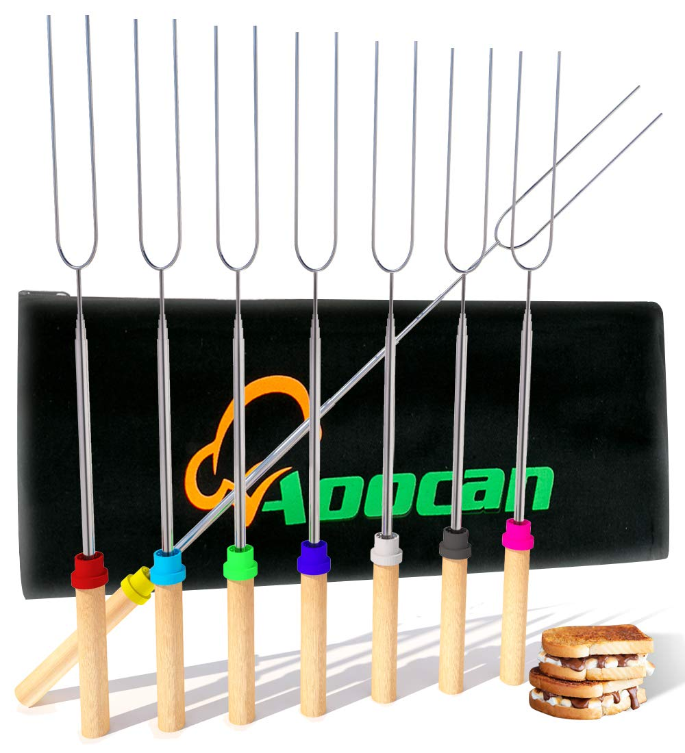 Aoocan marshmallow roasting sticks Telescoping Rotating Smores Skewers Hot Dog - 32 inches - Set of 8 smores sticks for fire pit, Campfire, Camping, Bonfire and Grill by Aoocan
