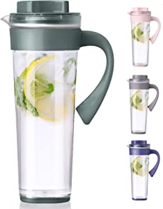 Plastic Pitcher,Lemonade Pitcher,Ice Tea Pitcher,Premium Quality Plastic Water Pitcher,for Hot and Cold Water, Drinks, Wine, Tea, Coffee,Ice Lemon Tea and Juice Beverage,1 quart/33 oz,Green
