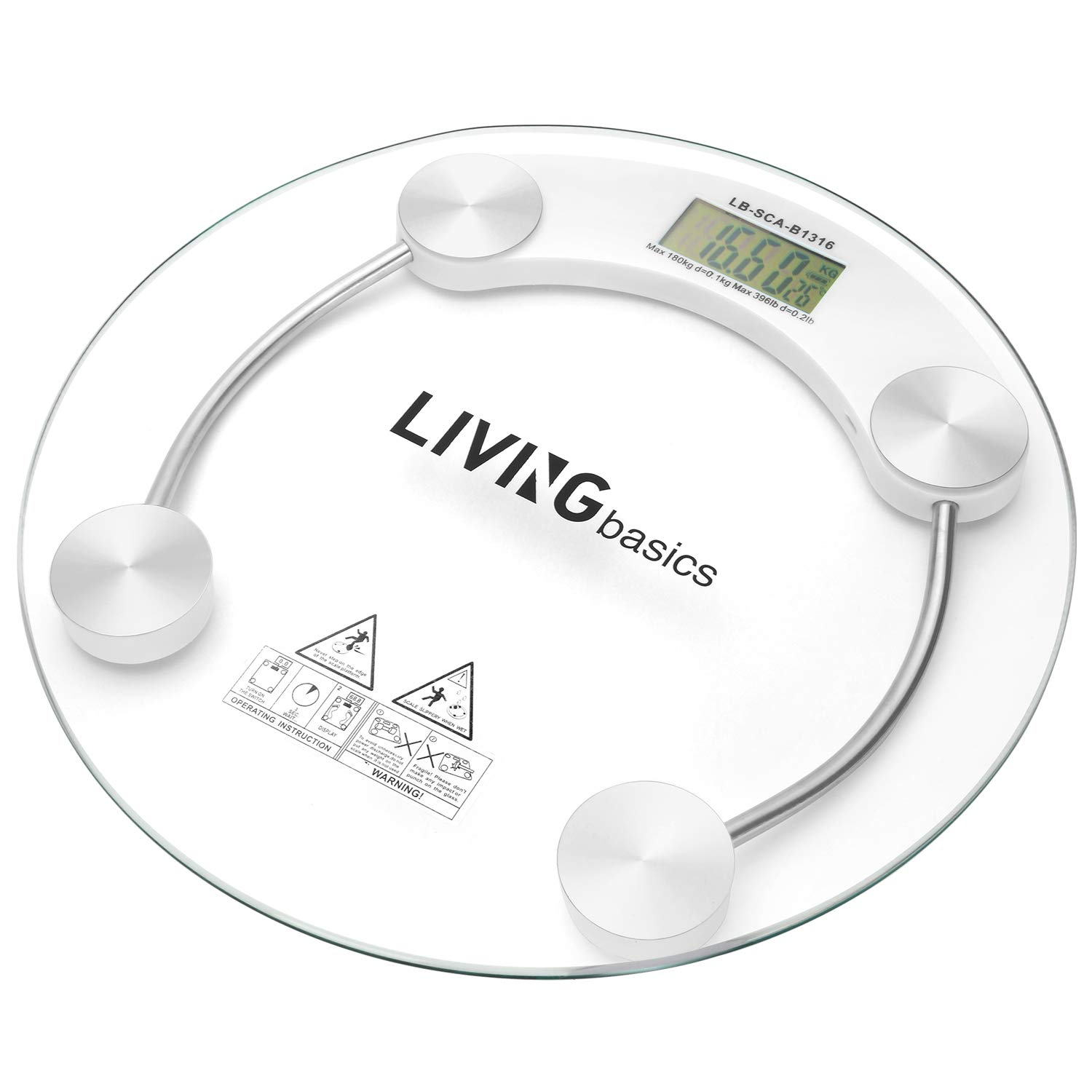 LIVINGbasics Smart Precision Digital Bathroom Scale with Step-On Technology, Non-Slip Tempered Glass Platform, Round
