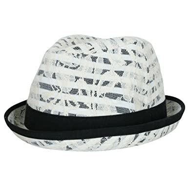 3d0ee0f87c3 ililily Lace Covered Pattern Printed Cotton Fedora Diamond Top Pork Pie Hat