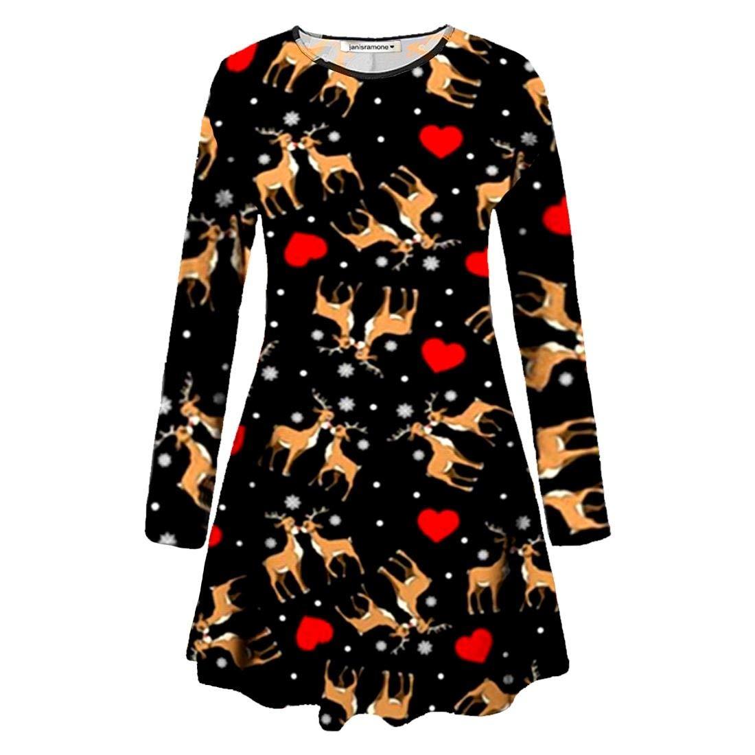 janisramone Girls Kids New Christmas Santa Snowman Elf Reindeer Print Flared Skater Xmas Mini Swing Dress Top