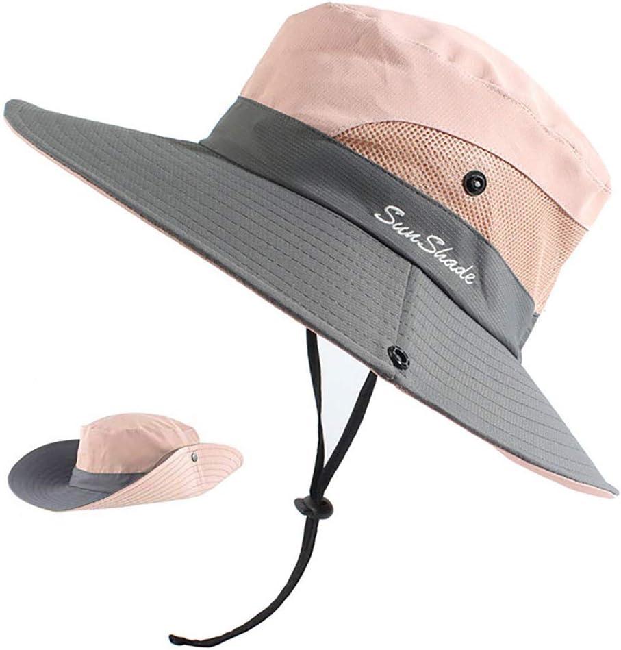 Peicees Women Ponytail Sun Hat, UPF 50 UV Protection Summer Cap Adjustable Bucket Hat Wide Brim Adventure Cowboy Hat Waterproof Foldable Bonnie Hat, Hiking Beach Fishing Safari Hat for Women
