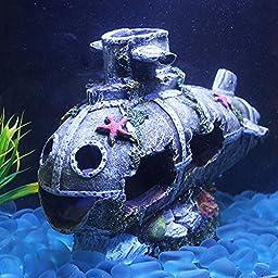 Bestgoo Aquarium Fish Tank Decorations Large Hiding Caves, Emulational Sunken Seabed Submarine Wreckage with Lovely Smiling Face