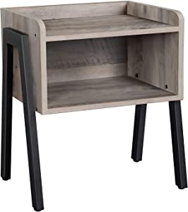 VASAGLE ALINRU Nightstand, Stackable End Table, Side Table for Small Spaces, Storage Compartment, Industrial Accent Furniture, Steel Frame, Greige and Black ULET054M01