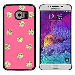 Caucho caso de Shell duro de la cubierta de accesorios de protección BY RAYDREAMMM - Samsung Galaxy S6 EDGE SM-G925 - Gold Pattern Peach Polka Dot